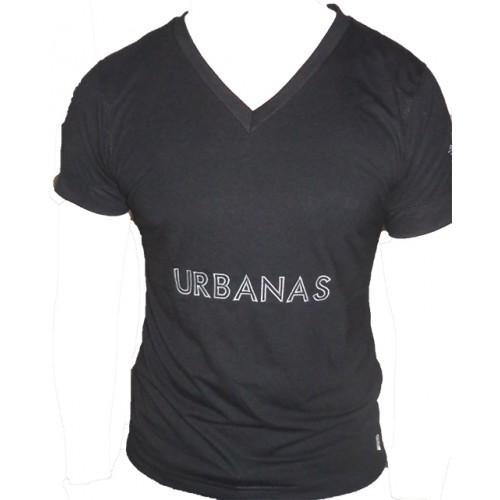 Camiseta Masculina Decote V Urbanas  Preta 001