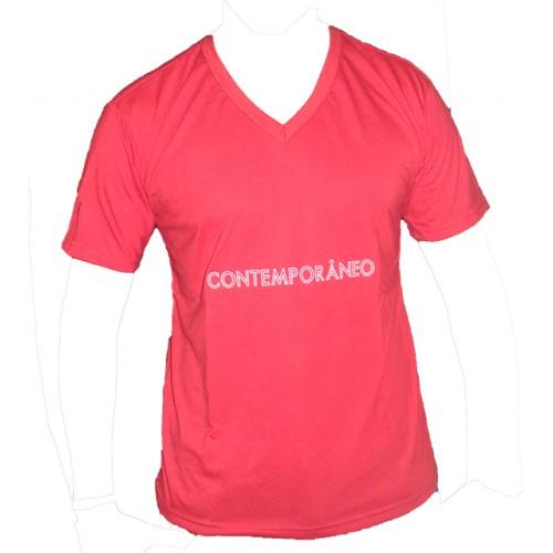 Camiseta Masculina Decote V Contemporâneo  Vermelha 001