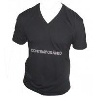 Camiseta Masculina Decote V Contemporâneo Preta 001